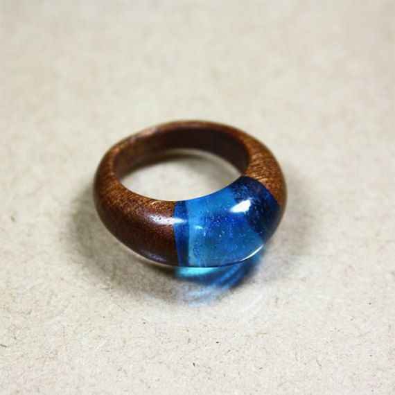 Water drop  mahogany wood and resin ring