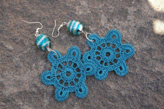 Pendientes de crochet-ganchillo - Pendientes largos -Color verde mar