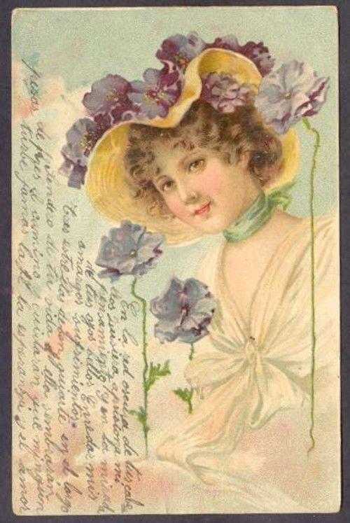 Art Ellen Clapsaddle ? Noveau Woman w Flowers Postcard L@@K