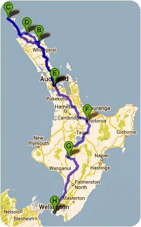 Route Neuseeland Nordinsel