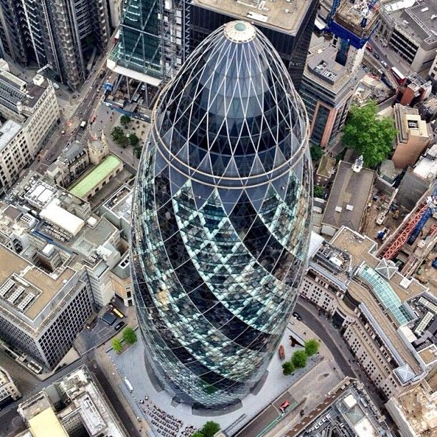 The Swiss Re building. In typical irrervant style, renamed the Gerkin.
