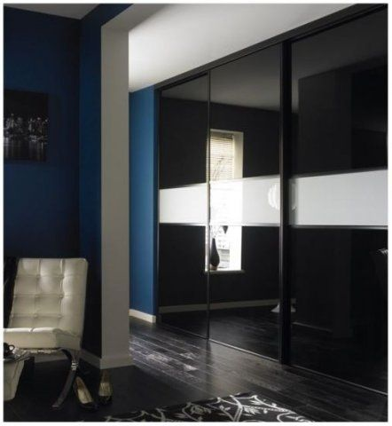 Black high gloss modern fitted wardrobe