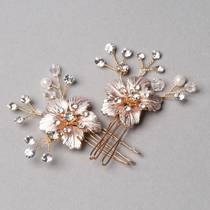 Cherry Blossom Hairpins by Shop No.2 - Delicately handcrafted Hairpins with fine quality rhinestones and crystal beads.