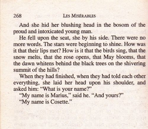 Les Misérables - the chapter when they meet is one of the most romantic things I've read