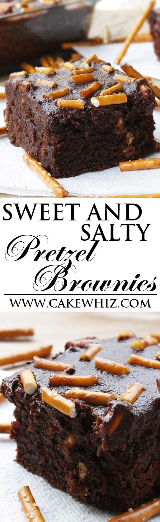 These sweet and salty PRETZEL BROWNIES are really fudgy are topped off with rich chocolate ganache. They are really easy to make and it's the perfect recipe for chocoholics! From cakewhiz.com