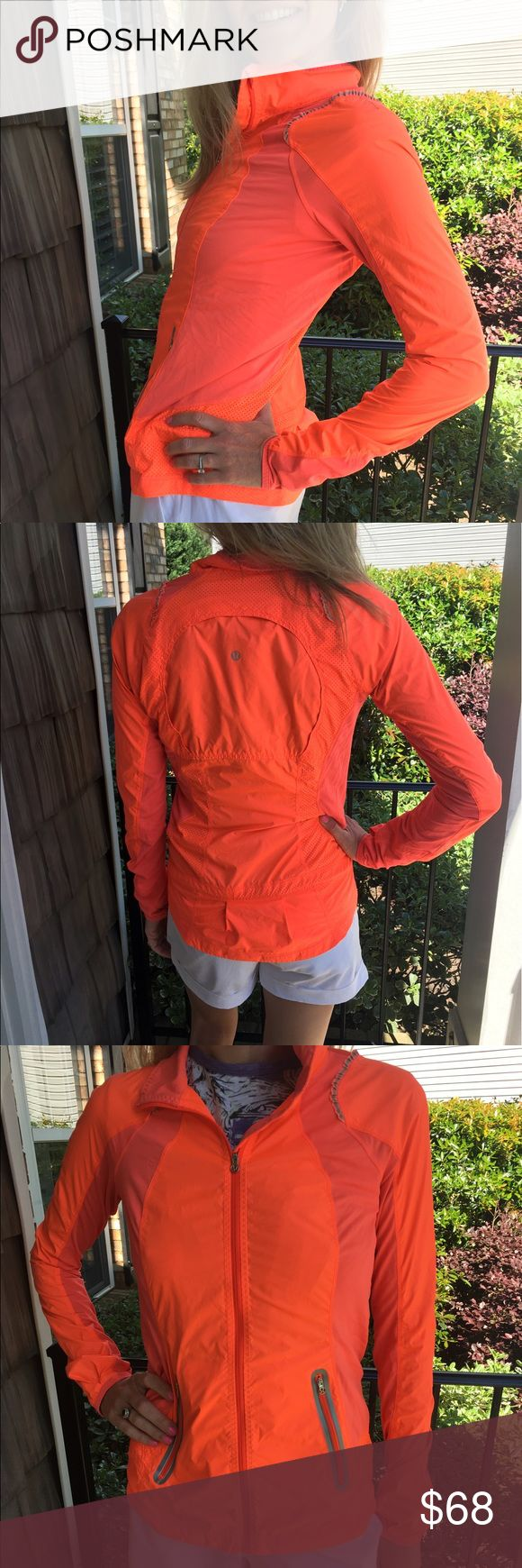 Lululemon orange running rain jacket In excellent condition. Beautiful bright orange zip up jacket. Reflective and a perfect spring weight. Thanks for looking.💕 lululemon athletica Jackets & Coats