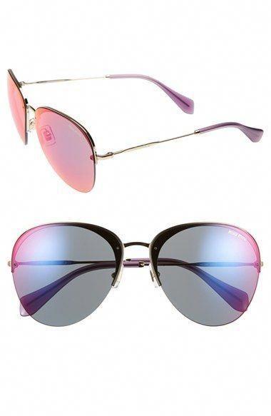 da537f52a7e3 Women s Miu Miu 60mm Semi Rimless Aviator Sunglasses - Gold  Red Blue  Mirror  MiuMiu