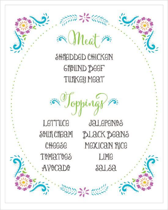 DIY Taco Bar free printable! #fiesta #freeprintable #weddingchicks Design: Jen Simpson Design ---> http://www.weddingchicks.com/2014/04/30/make-your-own-taco-bar/
