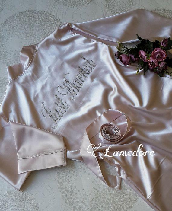 Brides Silk satin Robe with script rhinestone crystals by LAMEDORE