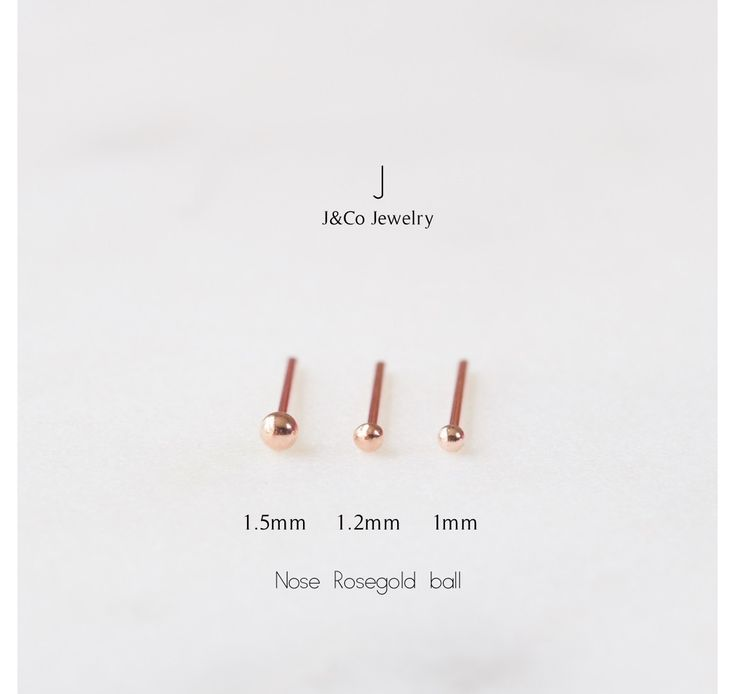 Sterling silver rose gold super teeny tiny ball nose stud with tiny ball end (Bone). Nose bone - stud ends in a small, round ball.