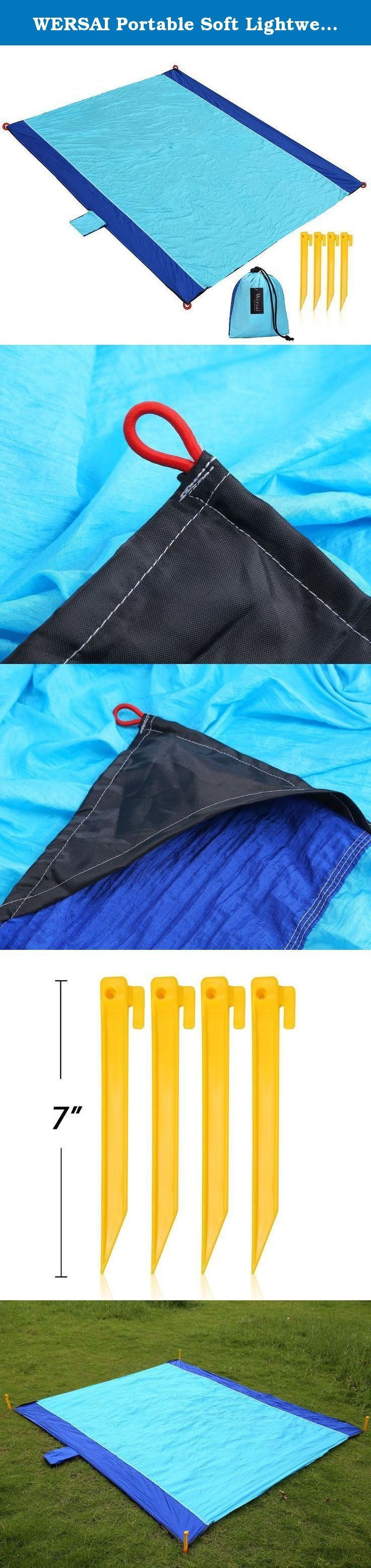 WERSAI Portable Soft Lightweight Beach Blanket Picnic Mat Pad for Travel Outdoor Blue. WERSAI beach blanket, a must-have for your summer. LIGHTWEIGHT, COMPACT AND PORTABLE BEACH BLANKET. WERSAI beach blanket is made of parachute nylon fabric, the advantage of this material is soft, lightweight, dry quick and easy cleaning. Imagine lying on the beach with your children, feeling cozy and cool, how wonderful! And you can fold it into a small size, saving space and convenient for carrying. A...