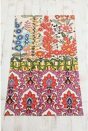 Girls room, white walls, white laminate floor + 2 of these: Floral Stripe Printed Rug $34