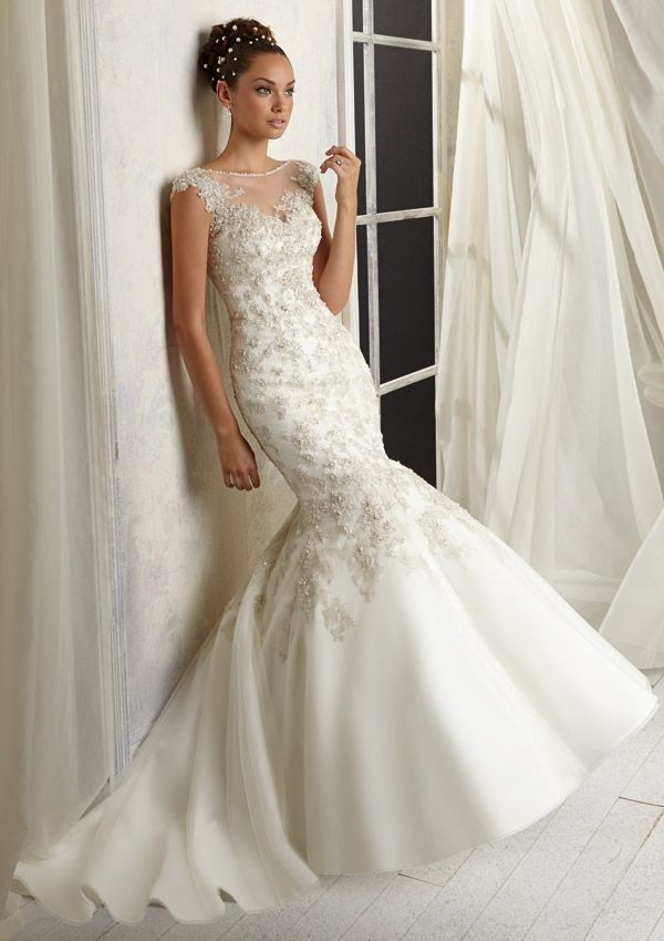 wedding gown from AF Couture by Mori Lee Style 1288 Beaded Appliqués Over Embroidery on Net