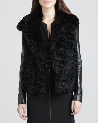 L'Agence -Leather-Sleeve FUR Jacket . open front . KALGAN LAMB ( china ) FUR with COWHIDE LEATHER SLEEVE * BLACK *    http://www.neimanmarcus.com/LAgence-Leather-Sleeve-Fur-Coat/prod159850257/p.prod?cmCat=Wishlist