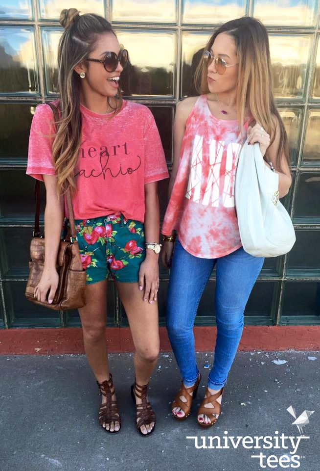 We can't get enough of these acid-wash tees and marble-dye tanks! | Alpha Chi Omega | Made by University Tees | www.universitytees.com