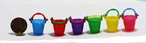 Set of 6 Miniature Multicolored Plastic Buckets or Pails