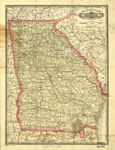 Indexed Railroad And County Map Of Georgia