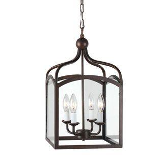 Antique Bronze 3-light Glass Caged Foyer Chandelier | Overstock.com Shopping - The Best Deals on Chandeliers & Pendants