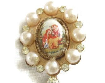 61 mejores imgenes de cameo jewelry antique to vintage brought to on sale vintage antique copper and faux pearl cameo brooch or pin hand painted aloadofball Choice Image