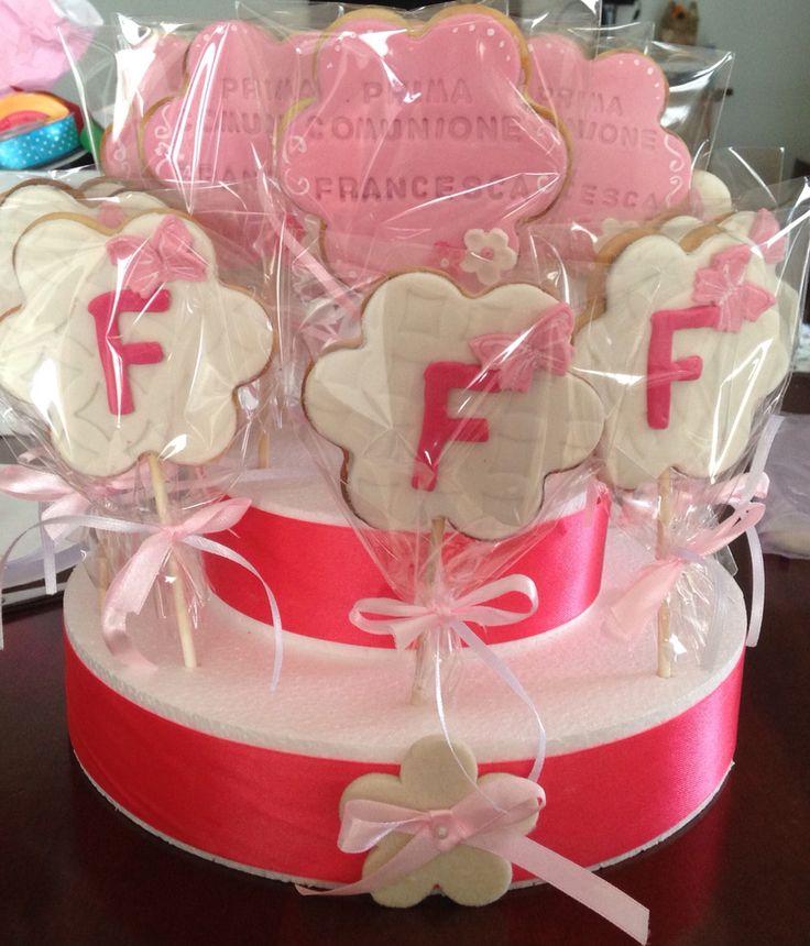 Flower cookies, prima comunione , biscotti a fiore
