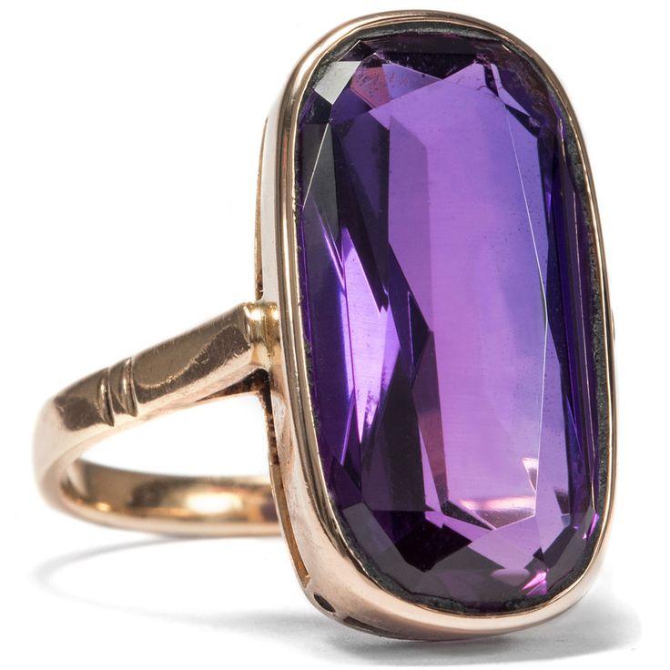 Fancy Moskau um Vintage RING violetter Korund Ros gold Gold Amethyst Farbe