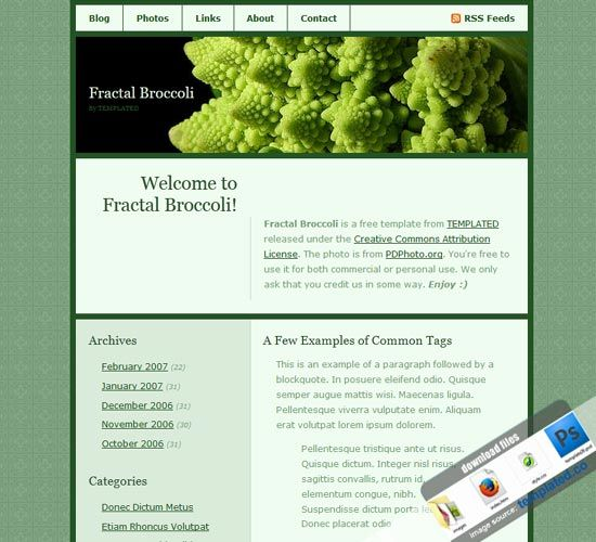 Green Website Templates: Resources for Blog, Fractal Broccoli Templates Free Download