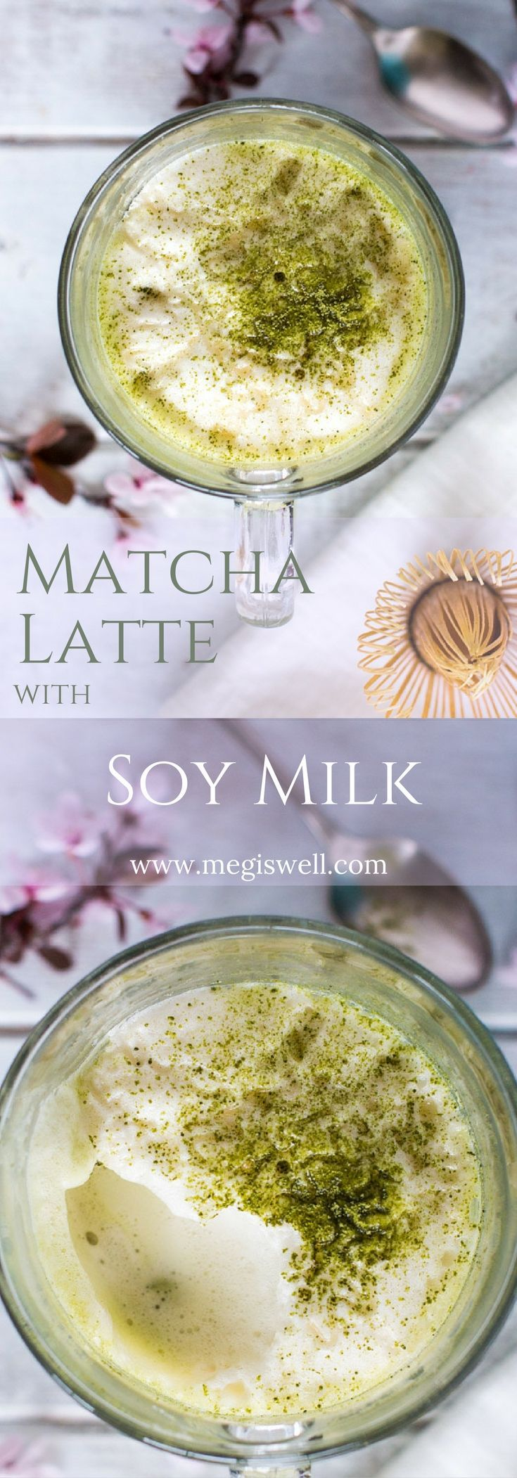 Steamed and frothed soy milk, lightly sweetened with honey, make this Matcha Latte with Soy Milk a cheaper and better tasting version than what you can get in a café.   http://www.megiswell.com