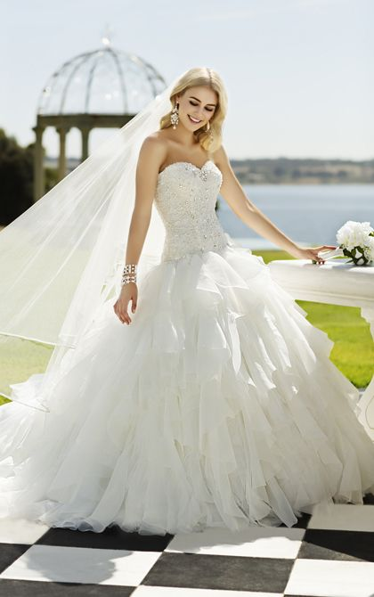 Organza and Tulle designer ball gown bridal dress with drop waist from Stella York (Style 5826)