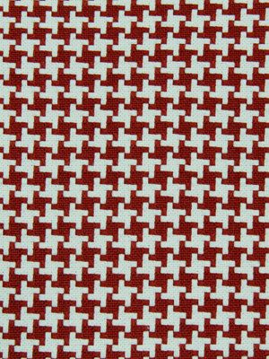 Red White Houndstooth Upholstery Fabric  Woven by PopDecorFabrics