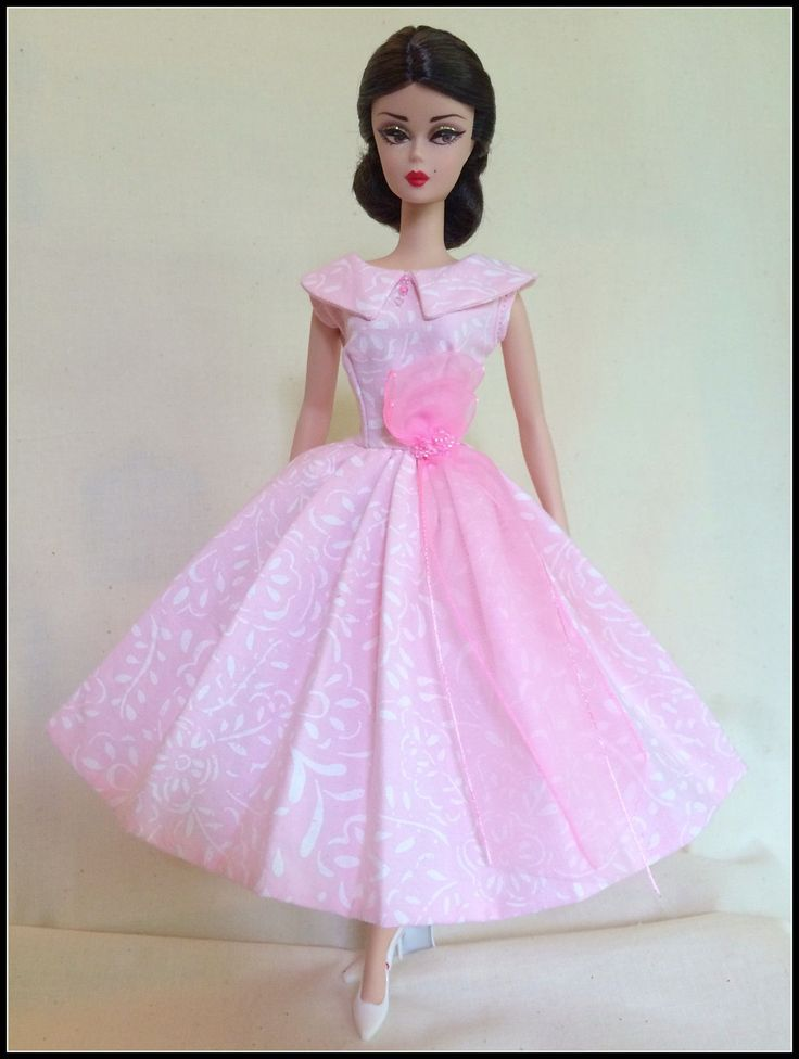 Handmade Dress For Silkstone Barbie By ~GINA~*Pastel Pink and White* | Dolls & Bears, Dolls, Barbie Contemporary (1973-Now) | eBay!