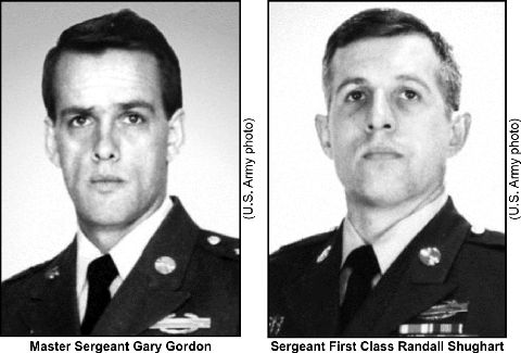 """Master Sergeant Gary Gordon and Sergeant First Class Randall Shugart were posthumously awarded the Medal of Honor for their actions in the Battle of Mogadishu (""""Blackhawk Down"""").  Gordon and Shugart volunteered to protect four other soldiers critically wounded in a helicopter crash, despite being well aware of a growing number of enemy personnel closing in on the site."""