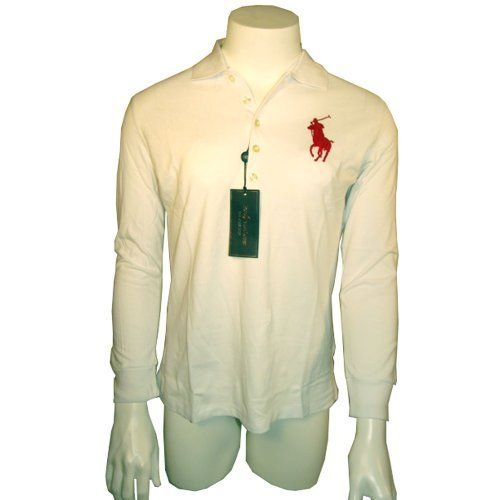 Ralph Lauren Crop-Sleeved Big Pony Women's Polo Shirt - White w/Red - Small by Polo Ralph Lauren. $49.99. This chic and streamlined polo is designed in a skinny fit with a plunging placket -- wear it open for a sexy take on an iconic essential.