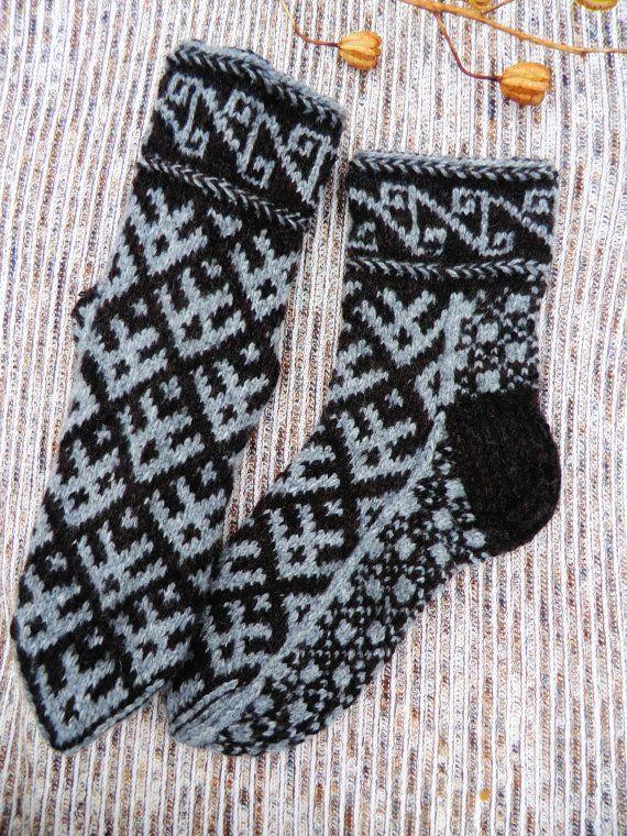 11.5 - 13.5 44- 48 Handknit thick men wool socks to buy europe eu scandinavian winter undied pure wool on Etsy, $42.00