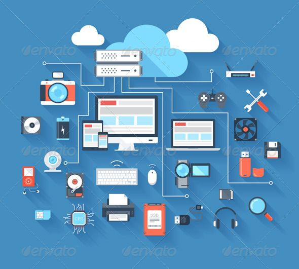 Hardware Icons by Vasabii Vector illustration of hardware and cloud computing concept on blue background with long shadow. Archive also contains high resol