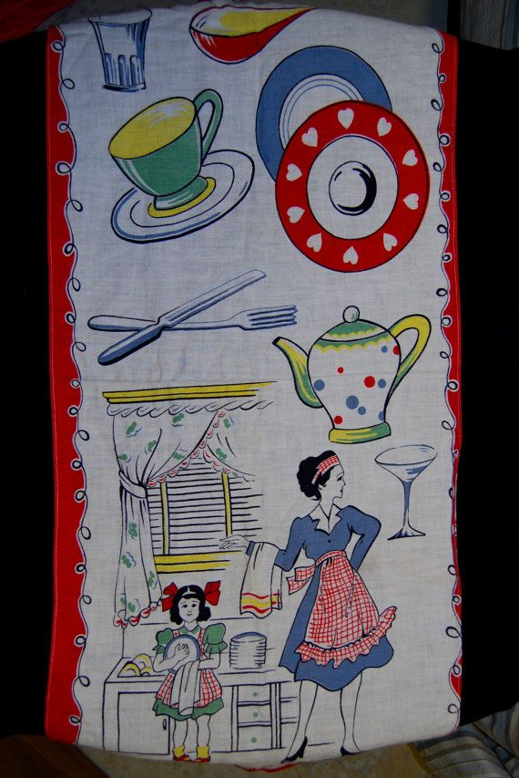 Vintage Kitchen Towel With Cute Kitchen Objects