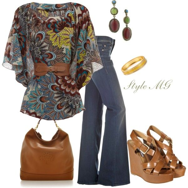 love that shirt!A Mini-Saia Jeans, Bohemian Polyvore, Early Fall, Peacocks Paisley, Flare Jeans Polyvore, Paisley Tops, Bohemian Fashion Polyvore, Pretty Tops, Fall Attire
