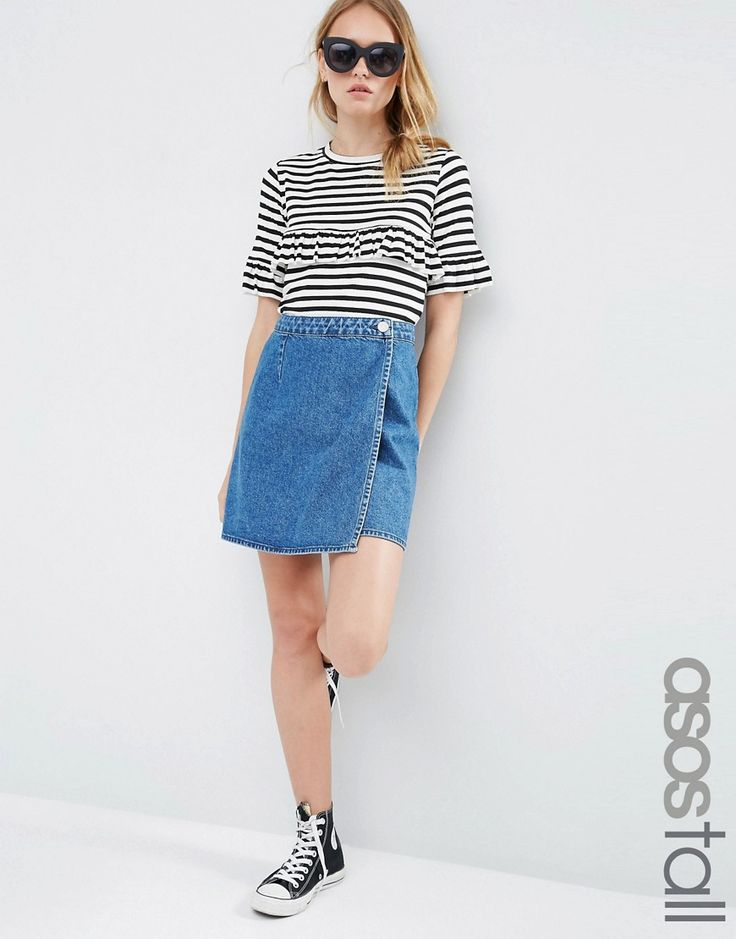 ASOS+TALL+Denim+Wrap+A+Line+Skirt+in+Mid+Wash+Blue
