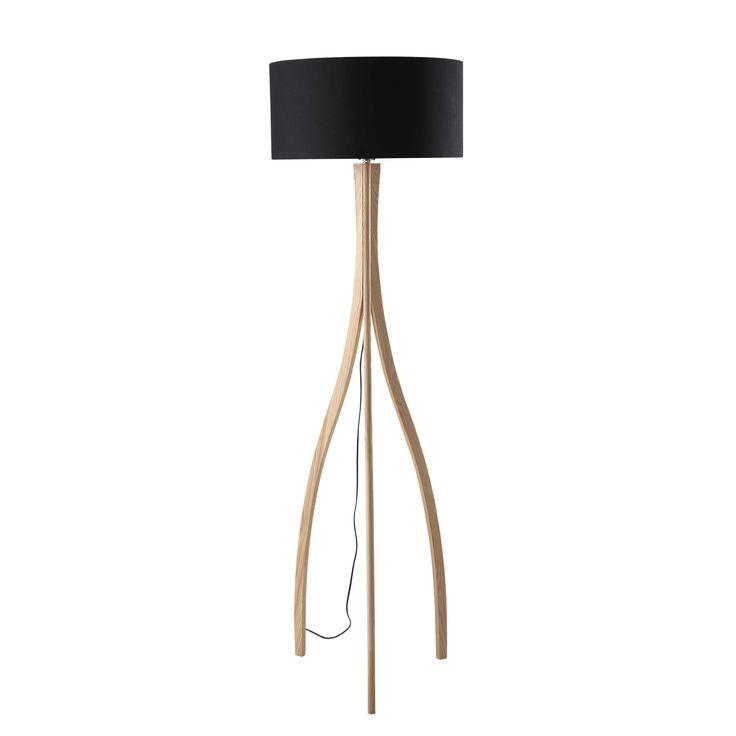 Lámpara de pie con trípode de madera y algodón Al. 161 cm SVEN