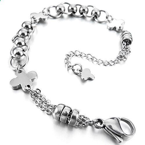 Women's Stainless Steel Bracelet Link Wrist Silver Cross Bead Classic. Read more description on the website.