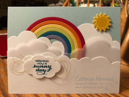 Rainbow card made with Stampin' Up's Rainbow Builder Framelits from the Occasions Catalog