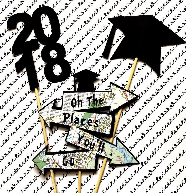 Oh the places to go Graduation Centerpiece, Map Centerpiece, Table Decor, Degree Centerpiece, Graduation Party, Adventure Graduation Map