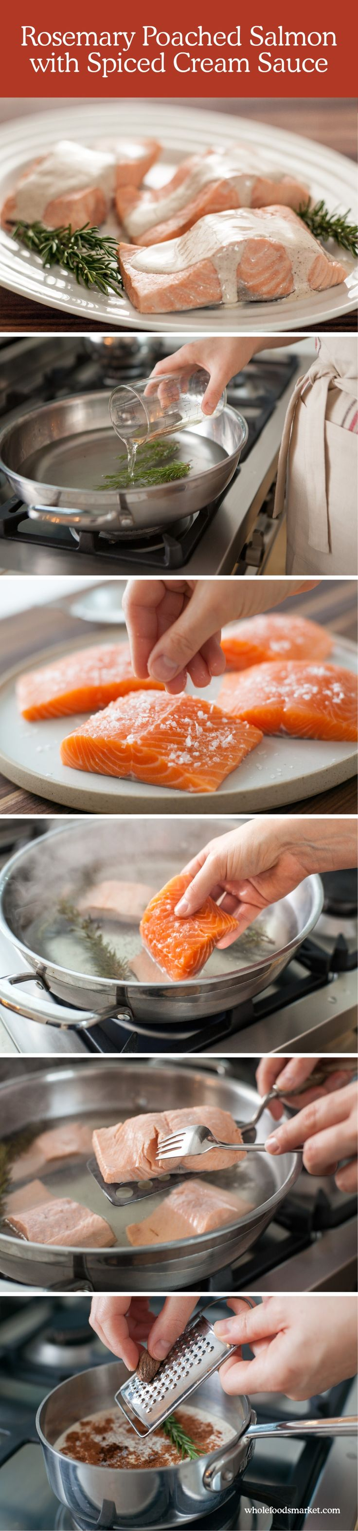 Rosemary Poached Salmon with Spiced Cream Sauce // Step-by-Step Recipe // Holiday How To // Whole Foods Market