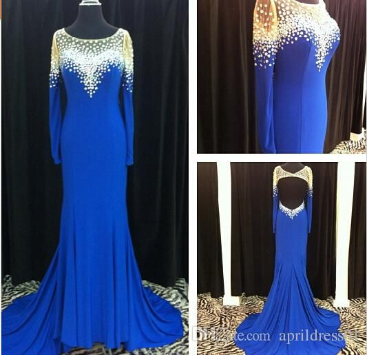 Blue A Line Long Prom Dresses 2016 Scoop Bead Long Sleeves Backless Chiffon Ruffles Vestido De Fiesta Floor Length Prom Evening Gown Prom Dress Clearance Prom Dress Hire Uk From Aprildress01, $150.76| Dhgate.Com