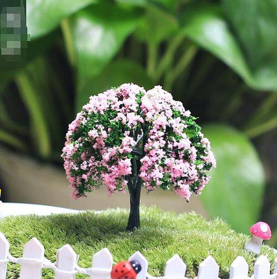 2x Pink Flower Artificial Trees Zakka Accessories Fairy Garden