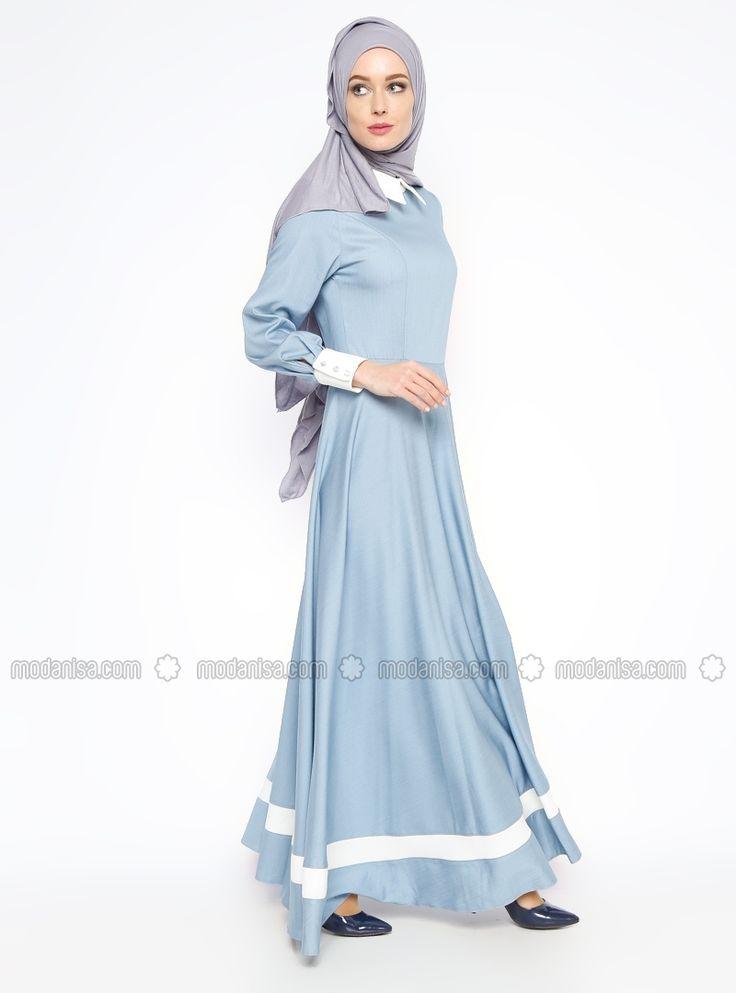 Sivri Yakalı Elbise - Mavi - Veteks Line