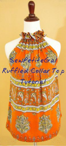 SewPetiteGal: Easy Ruffled Collar Top #DIY Tutorial - just sew 2 rectangles together :)