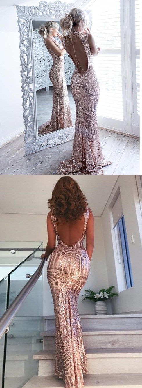 Open Back Sequin Sparkly Mermaid Fashion Sexy Elegant Prom Dresses, Evening party dress, PD0609 #SPOSABRIDAL