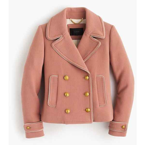 J.Crew Double-Breasted Coat (1,495 ILS) ❤ liked on Polyvore featuring outerwear, coats, fur-lined coats, j crew coats and double breasted coat