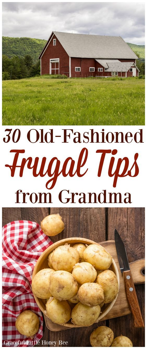 Learn how to save money like a pro with this list of 30 Old-Fashioned Frugal Tips from Grandma including growing your own food and eating at home!