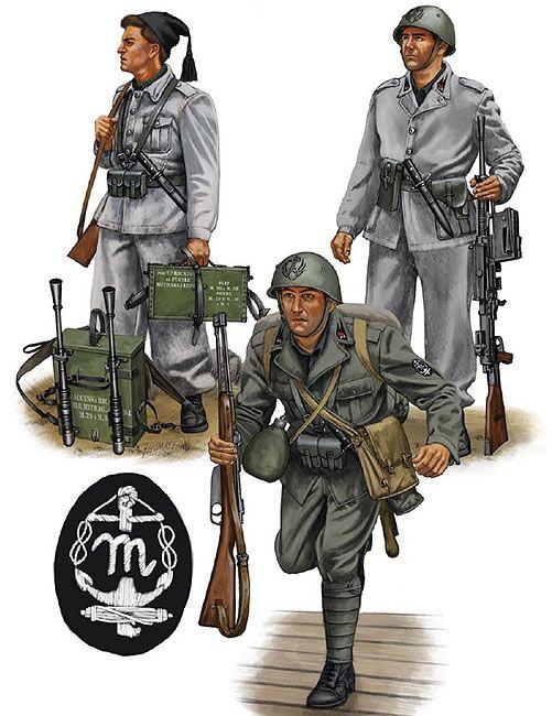"""R.S.I. - Squadra di Mitragliatrice, Divisione Corazzata """"M"""", 1943 - Regio Esercito - Camicia Nera, Gruppo Battaglioni """"M"""" da Sbarco, 1942"""